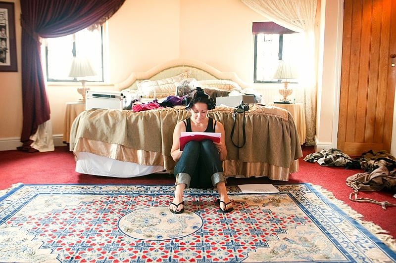 bride prepares on wedding morning at Walton Castle