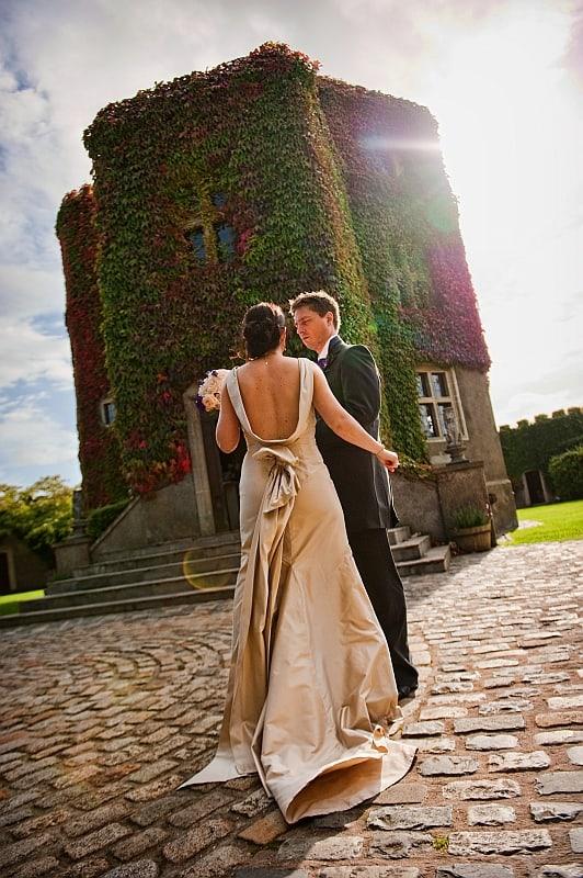 Wedding portrait of bride and groom at Walton Castle, Bristol