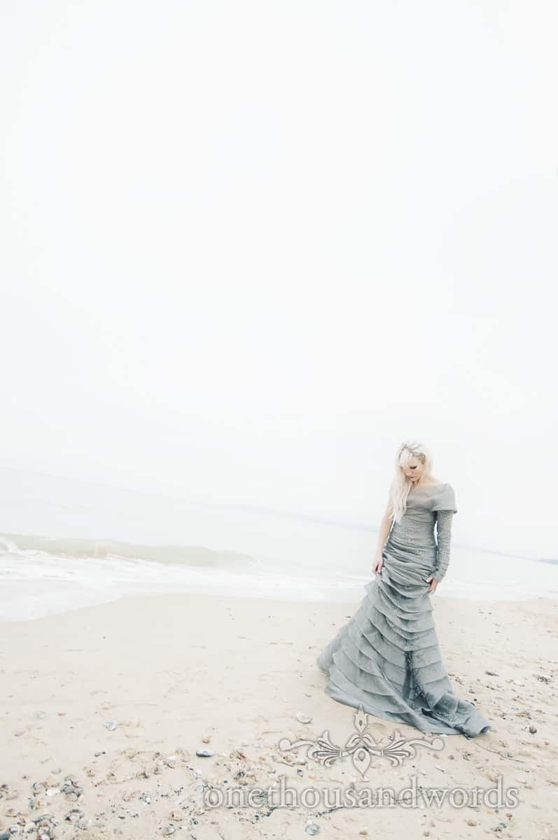 Bournemouth wedding dress photographs on Bournemouth Beach