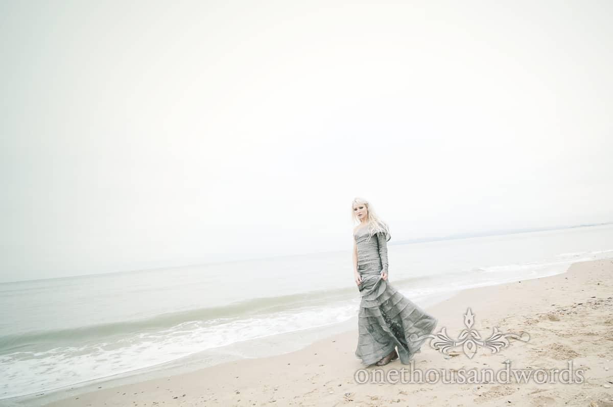 wedding dress photographs on Bournemouth Beach
