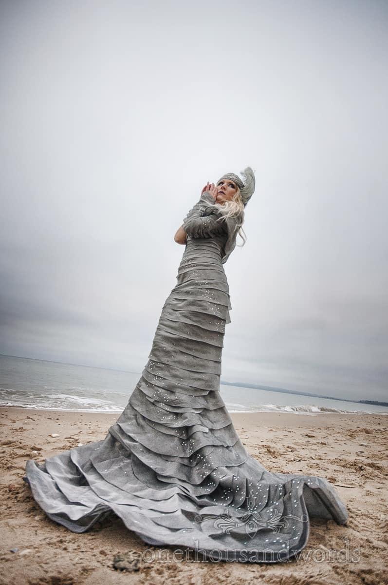 1920's wedding dress on bournemouth beach