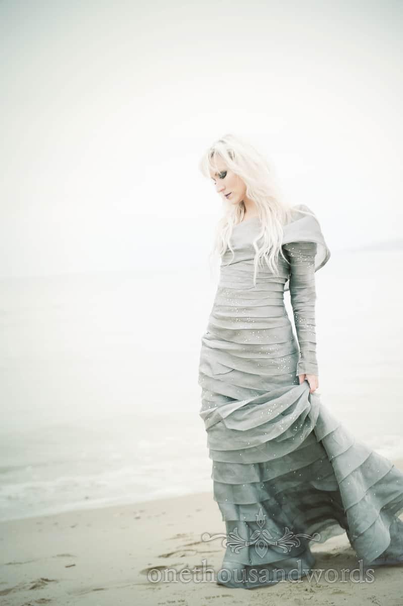 Hellebore JFD Bournemouth wedding dress photographs on Bournemouth Beach