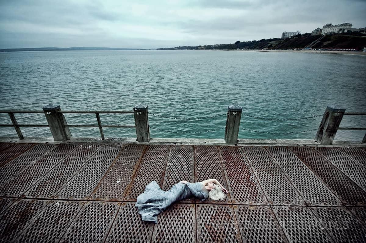 Mermaid weddign dress on bournemouth pier