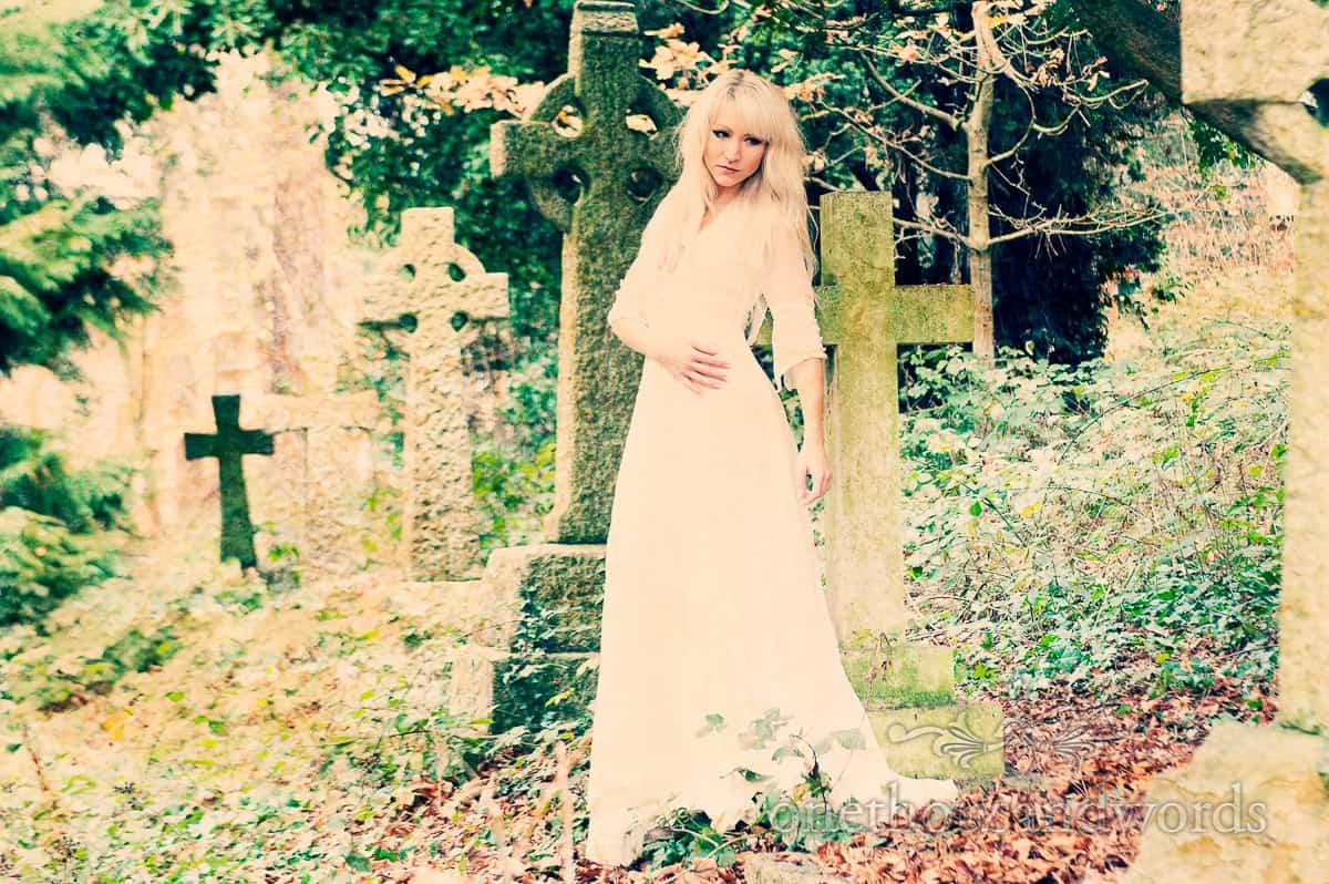 Palvinder wedding dress in graveyard