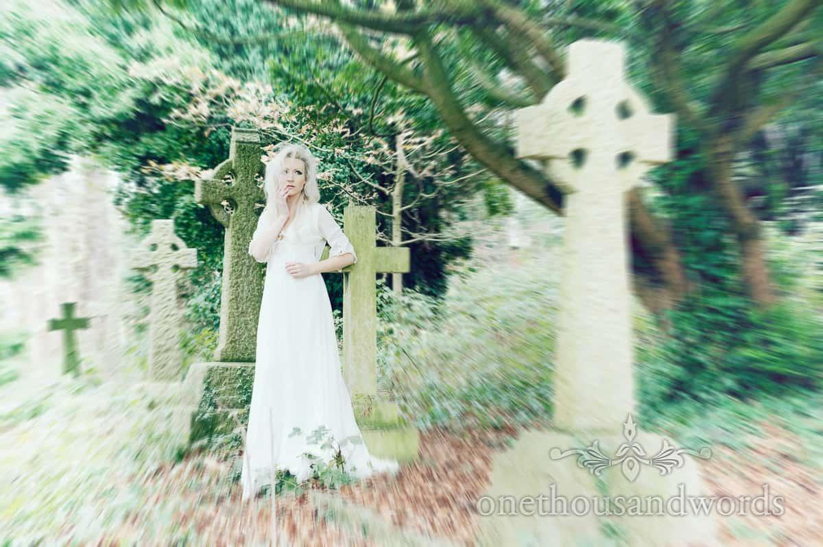 wedding dress photography in grave yard