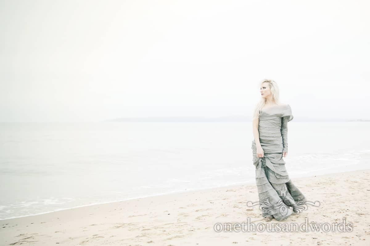 Hellebore wedding dress on Bournemouth beach