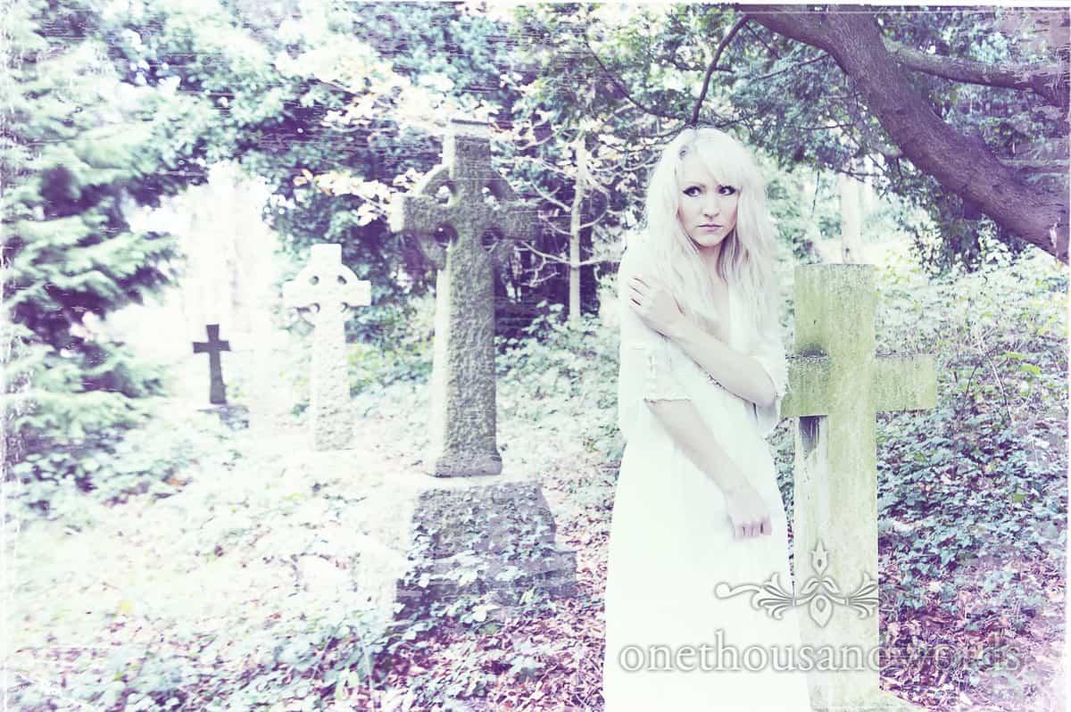wedding dress on bride in graveyard