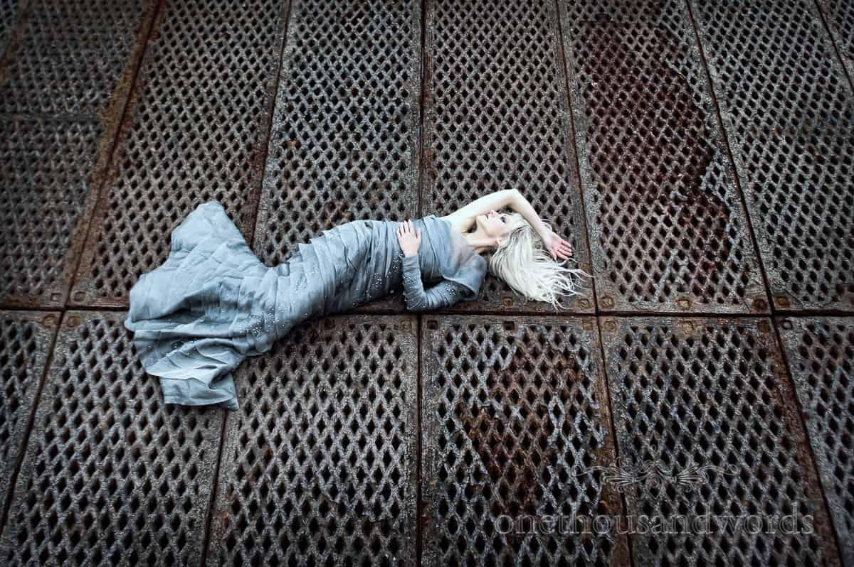 Mermaid wedding dress on pier
