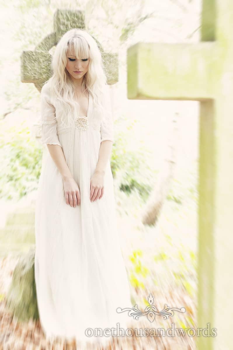 Palvinder wedding dress in graveyard Bournemouth Wedding dress photographs