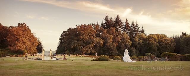 Rhinefield House bride in gardens