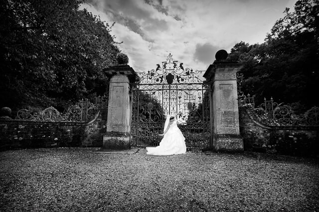 black and white bride at Rhinefield House