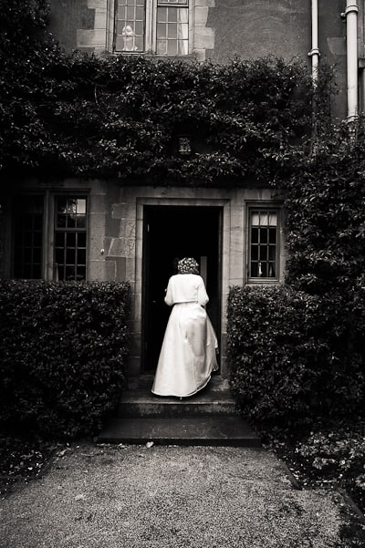 Black and white wedding photograph of bride
