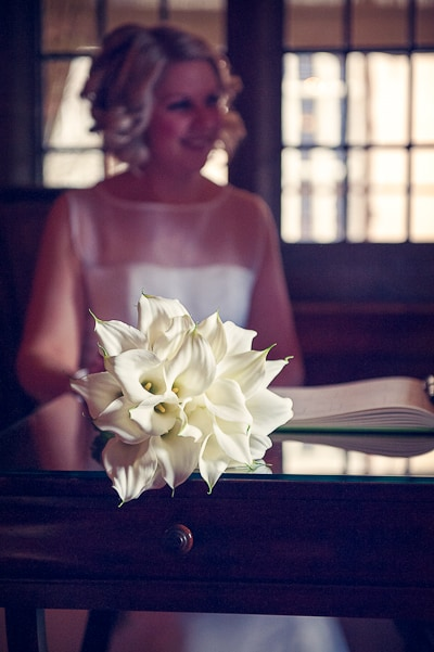 Warwickshire wedding Photograph of wedding bouquet of lilies