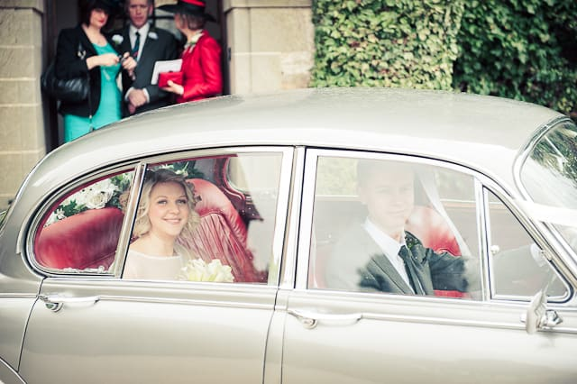 Warwickshire wedding Photographs classic Jaguar wedding car