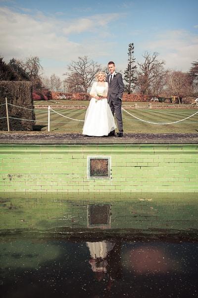 Warwickshire wedding photographs Victorian swimming pool