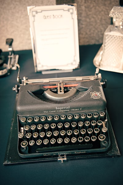 Old fashioned typewriter as wedding guest book