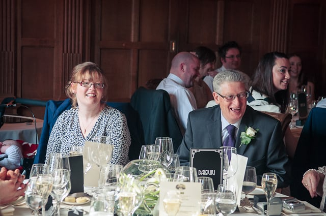 Photograph of wedding guests at Mallory Court, Warwickshire