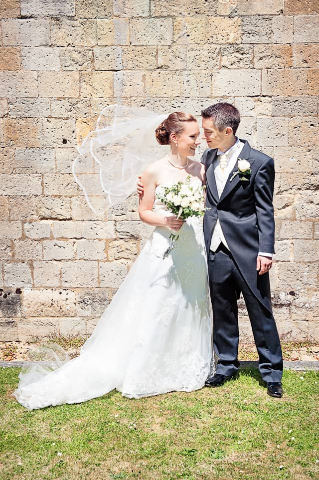 bride and groom photograph at Romsey Abbey