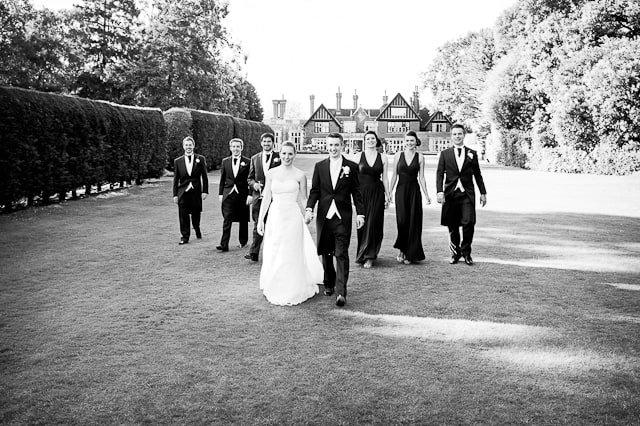 Black and white photograph of wedding party Elmer's Court Hotel, Lymington, New Forest