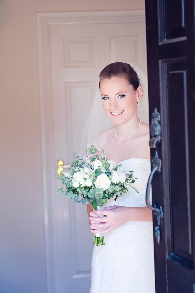Bride with bouquet ready for Elmers Court Hotel Wedding