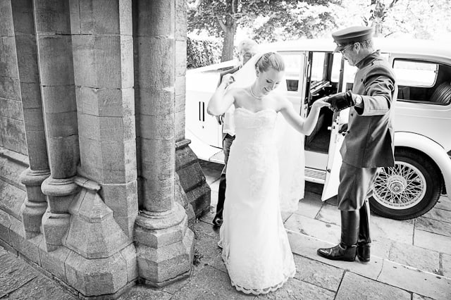 Bride arrives at Romsey Abbey