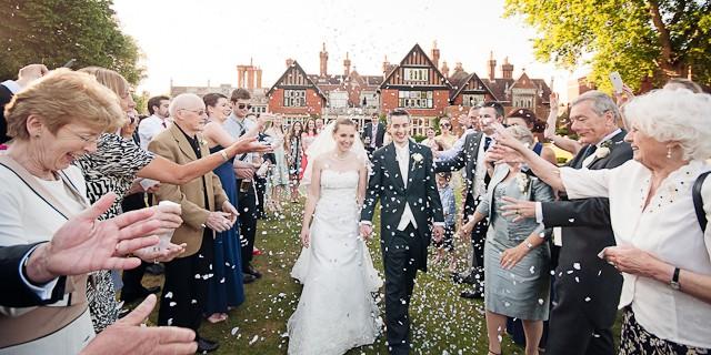 Wedding confetti Elmers Court Hotel wedding venue New Forest