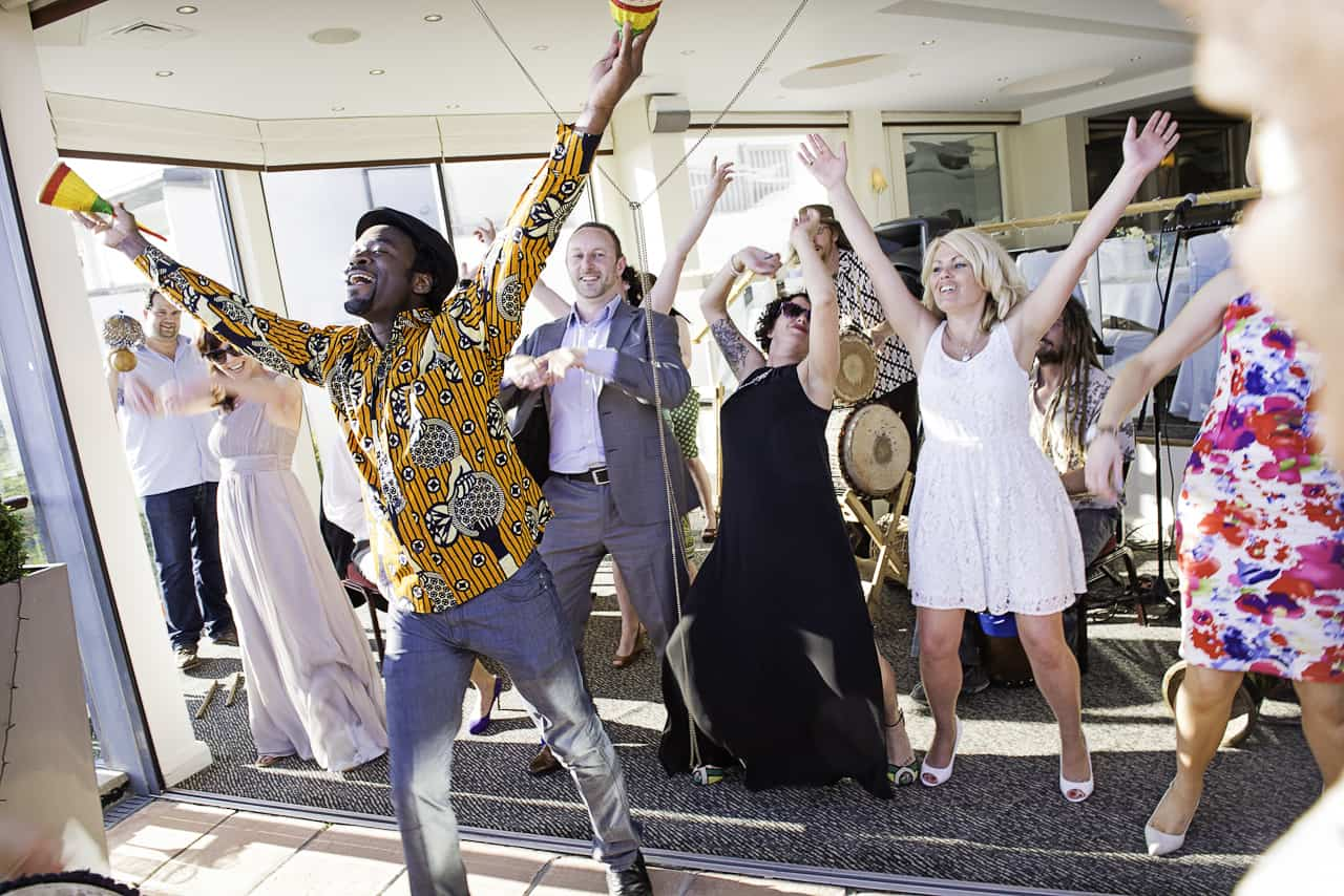 African drumming and dancing at Harbour Heights wedding venue in Poole