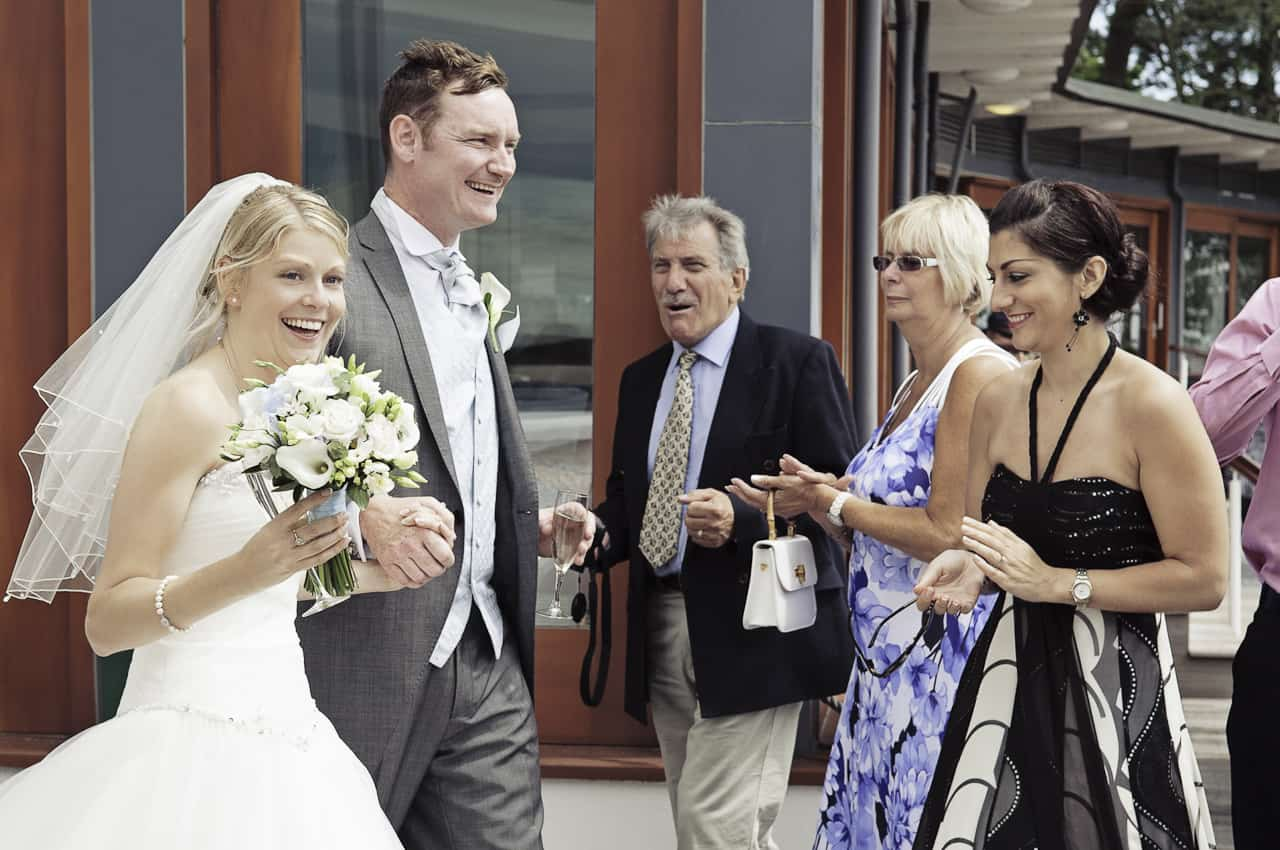 Bride and groom arrive at Harbour Heights Hotel wedding reception
