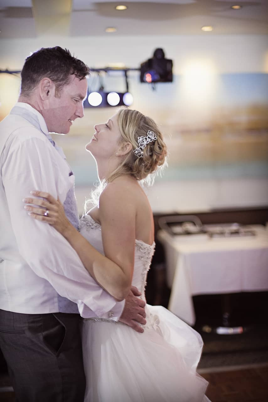 Bride and groom have their first dance at Harbour Heights Hotel, Dorset