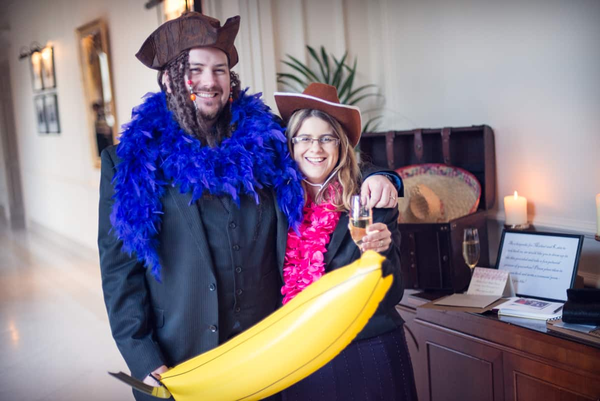 Wedding photographers in Hampshire photography of wedding guests in fancy dress