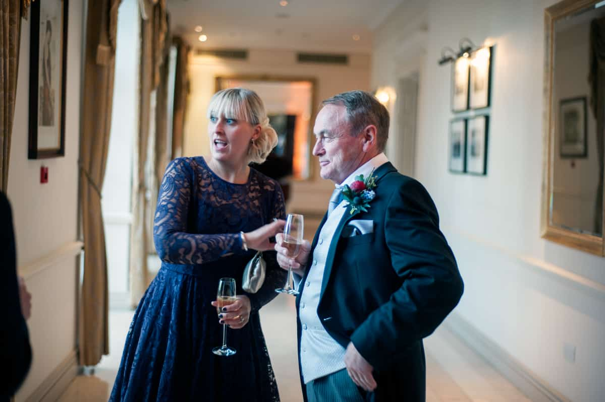 Wedding photographers in Hampshire guests at drinks reception at Four Seasons Hotel wedding venue, Hampshire