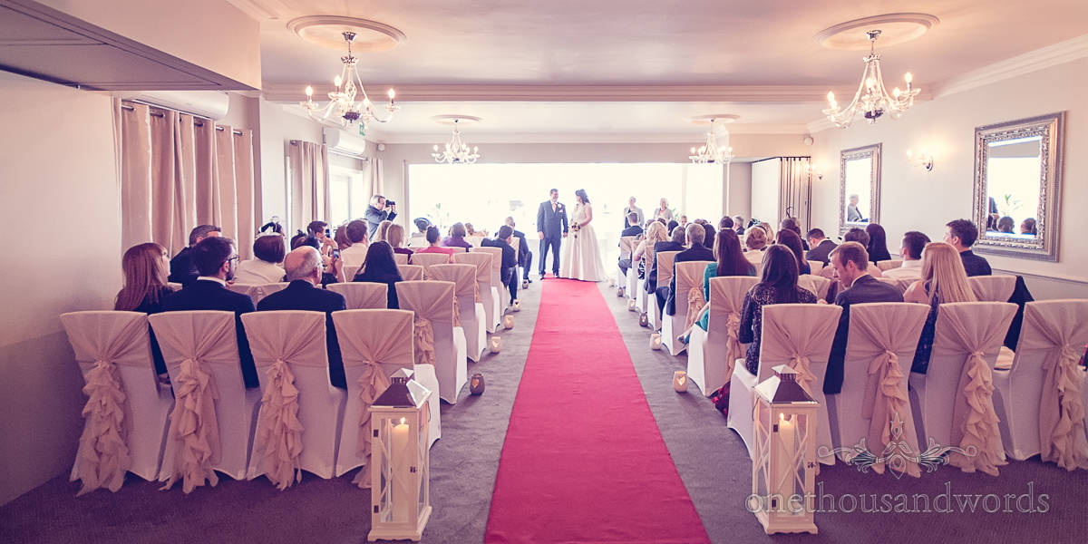 wedding room during ceremonvy at Christchurch Harbour Hotel