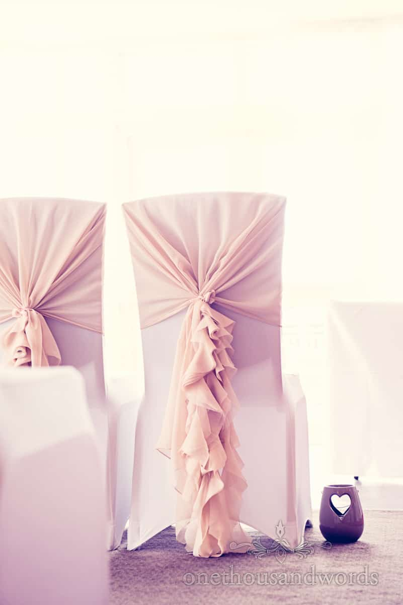 long wedding chair sashes at Christchurch Harbour Hotel