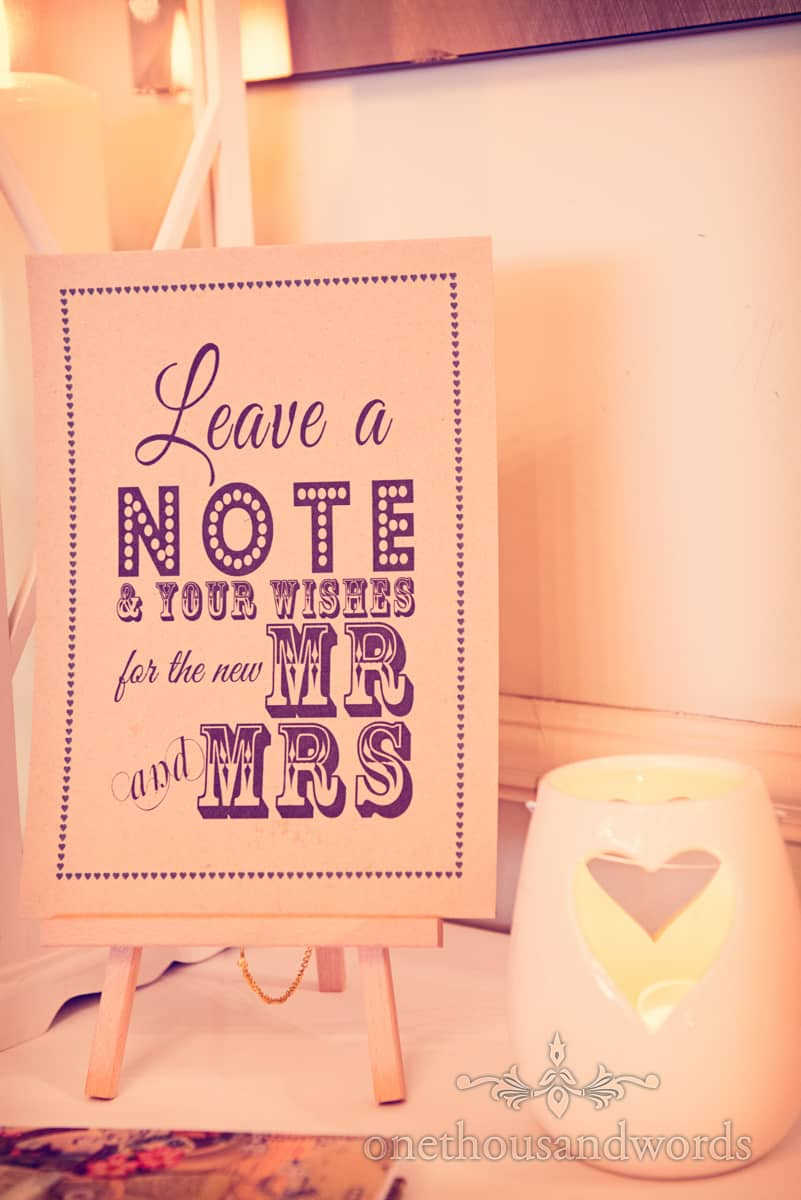 leave a note for the new MR and MRS