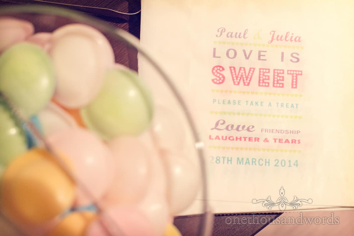 wedding sweets at Christchurch Harbour Hotel