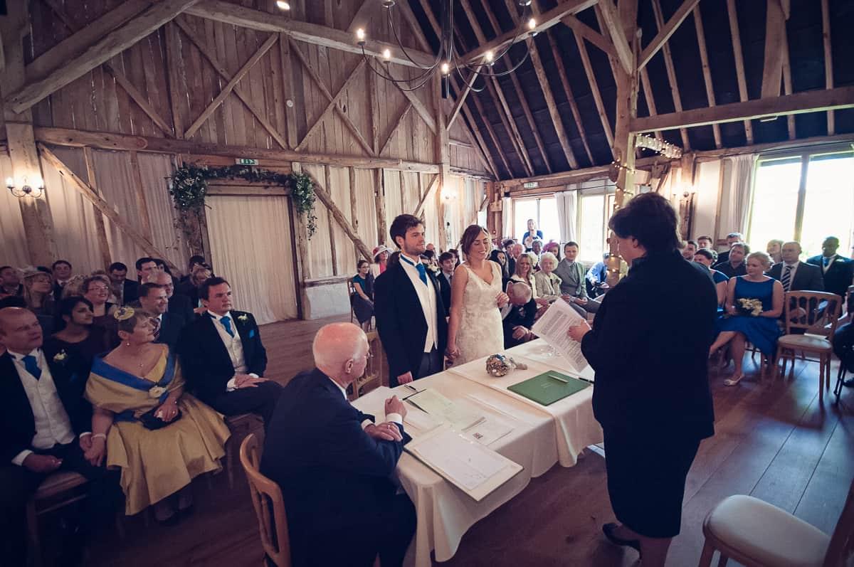 wedding ceremony at the clock barn