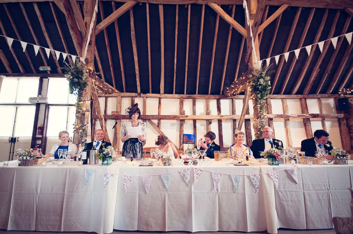 wedding speeches at clock barn wedding venue