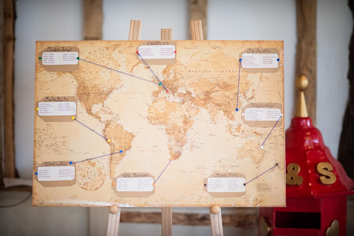 wedding table plan map of the world