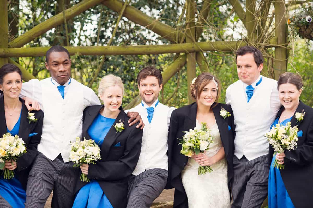 wedding party at clock barn