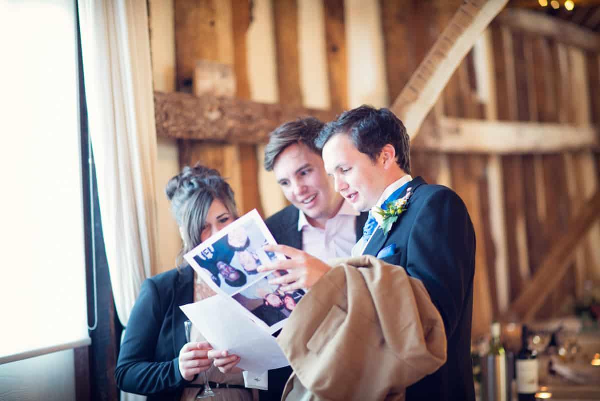 wedding guests at clock barn