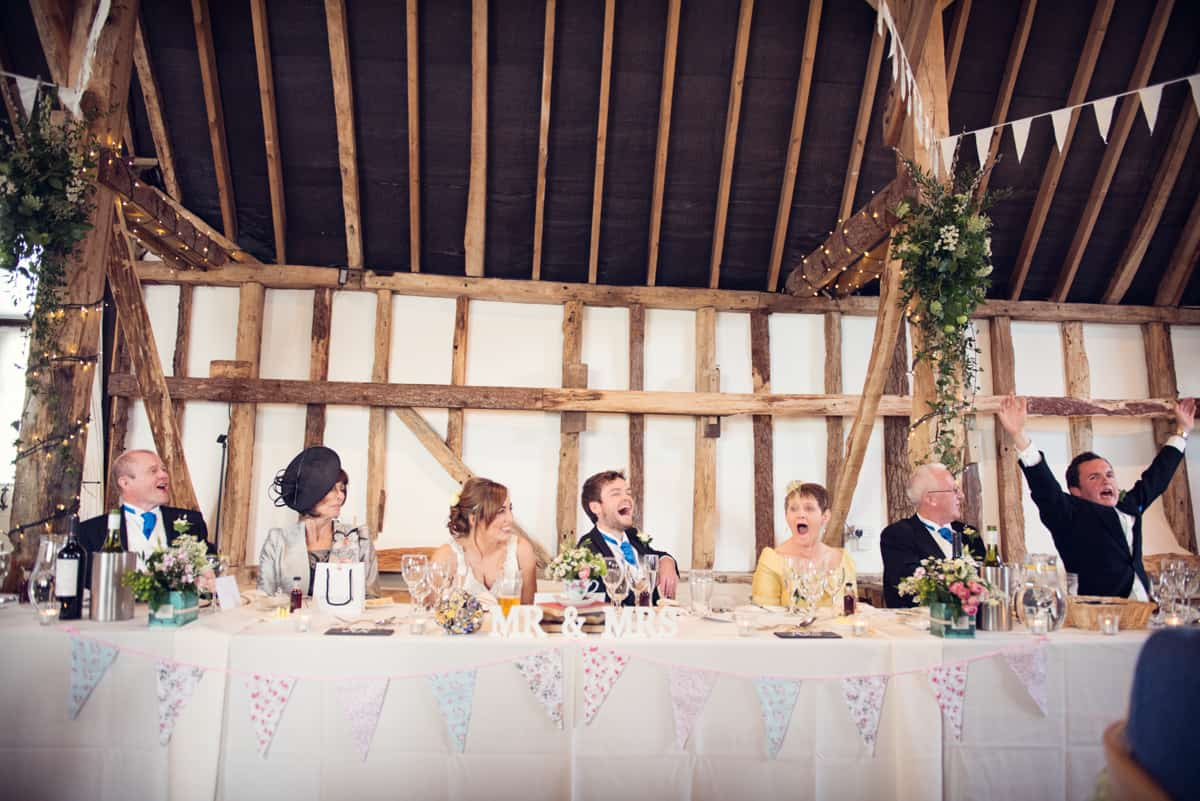 Top table during wedding speeches at Clock Barn