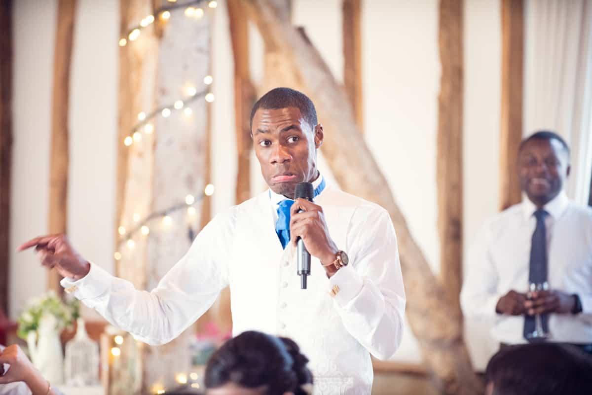 Usher at Clock barn making speeches