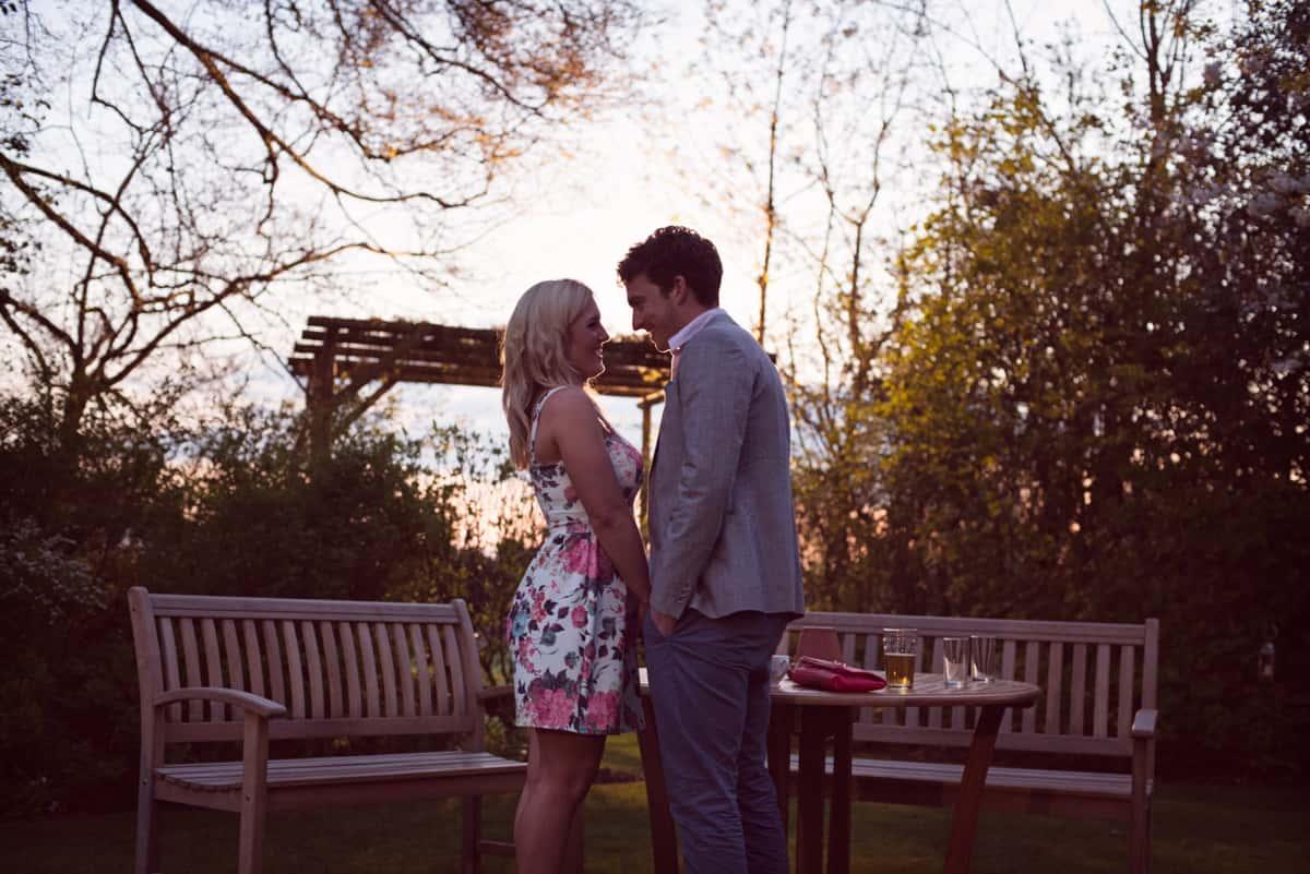 wedding guests at sunset Clock Barn