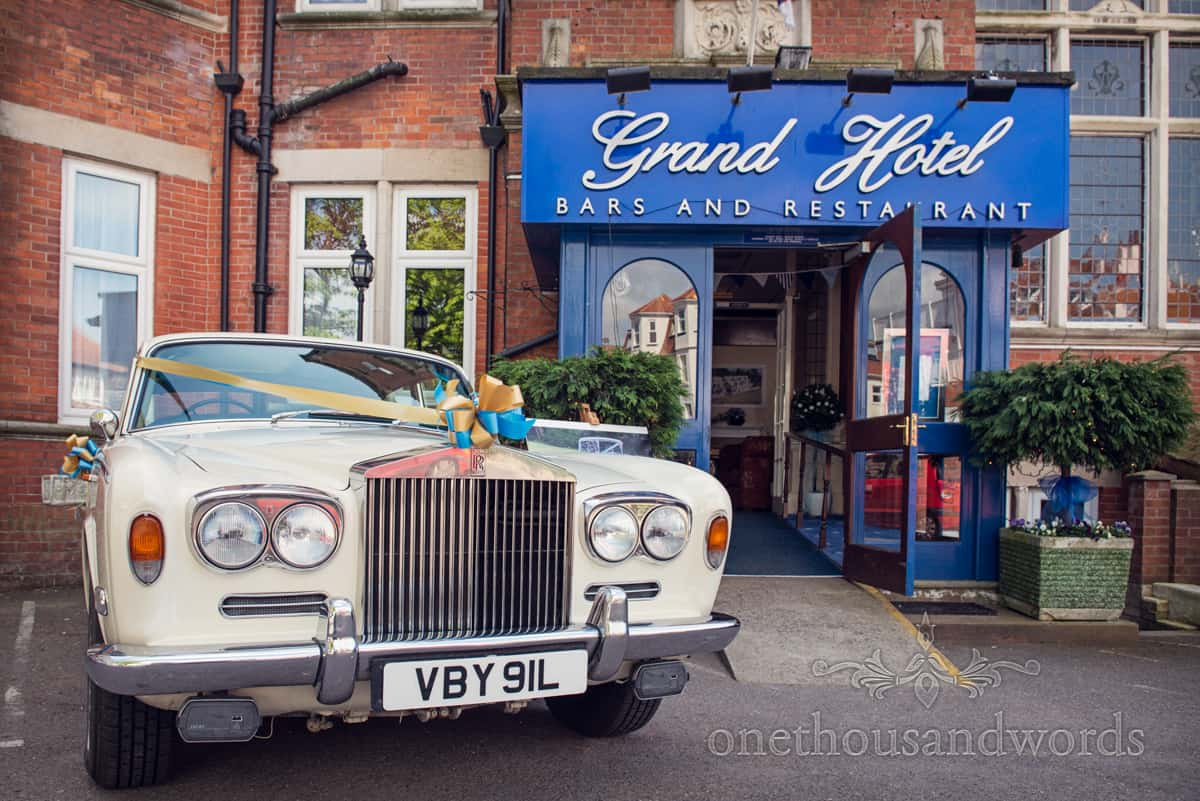wedding cars at The GRand Hotel, Wedding venue in Dorset