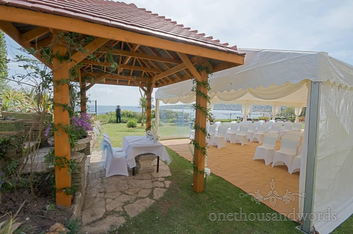 Outdoor wedding venue by the sea