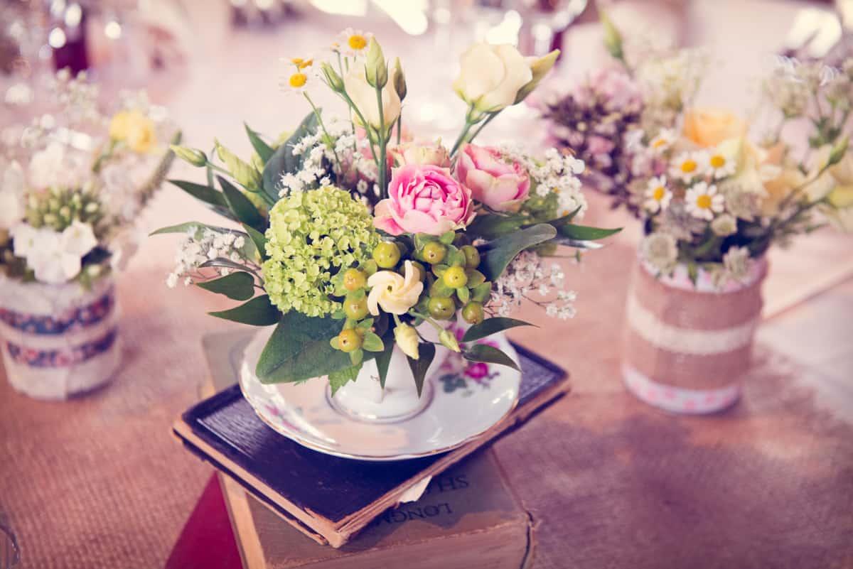 vintage theme wedding flowers at Clock Barn