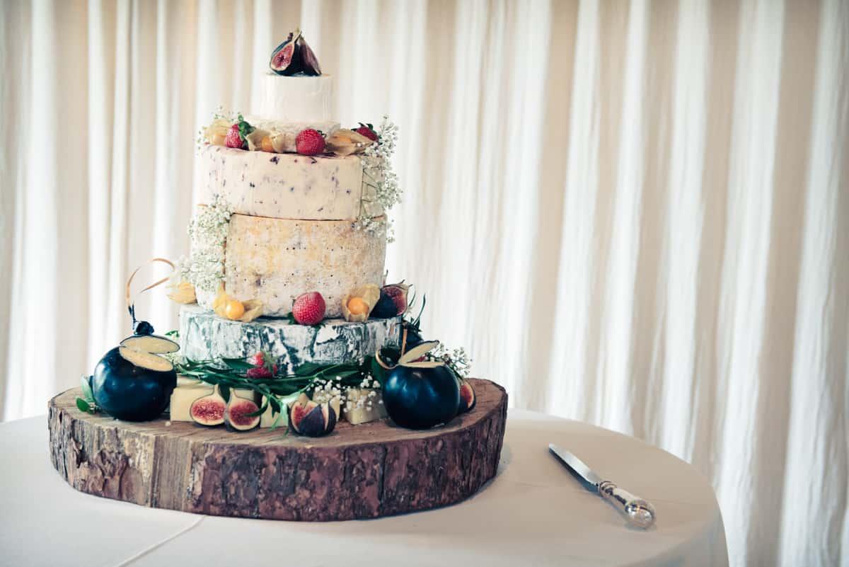 Cheese wedding cake at Clock Barn