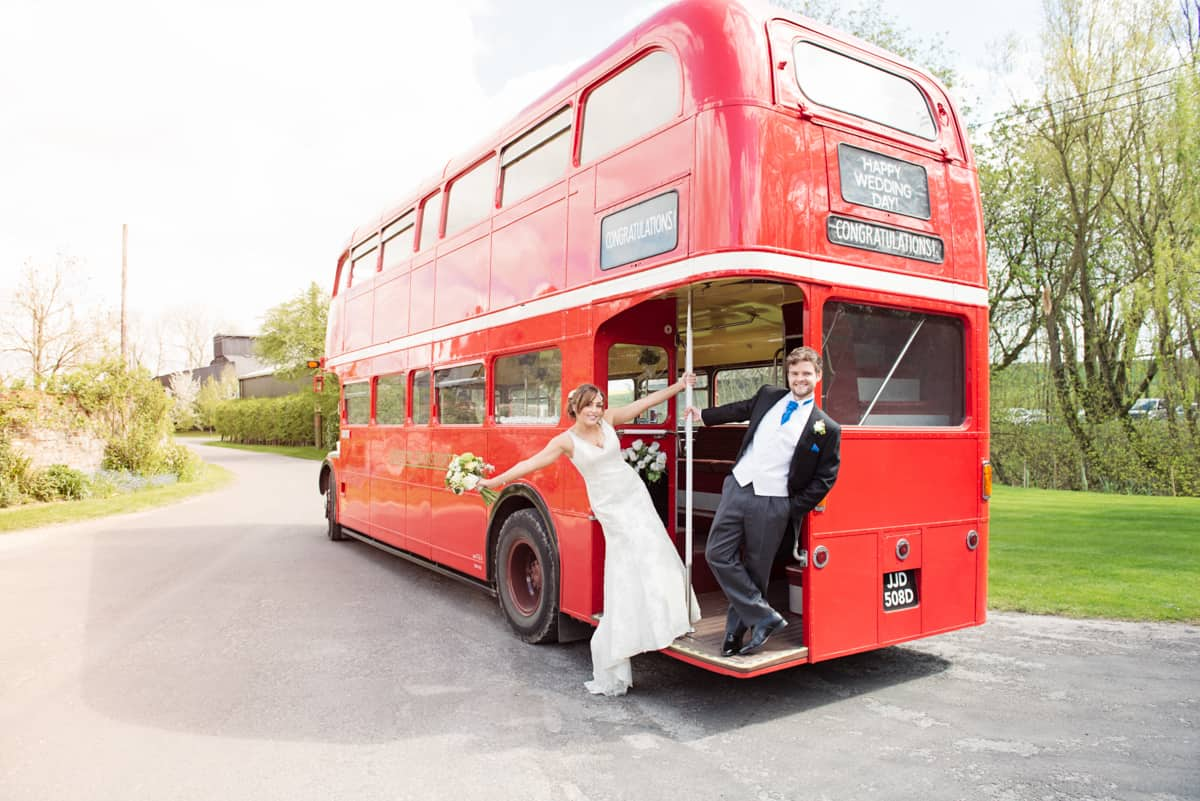 red london bus at wedding