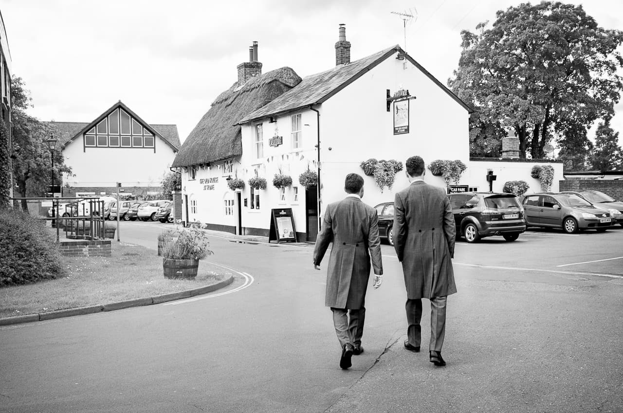 Groom visits pub on the morning of Rhinefield House Wedding