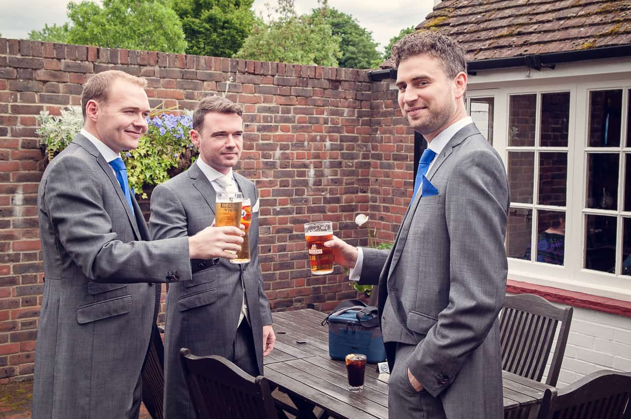 Wedding morning beer in Romsey